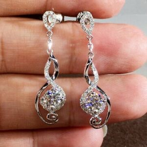 NEW Elegant 925 Silver Drop Earrings for Women